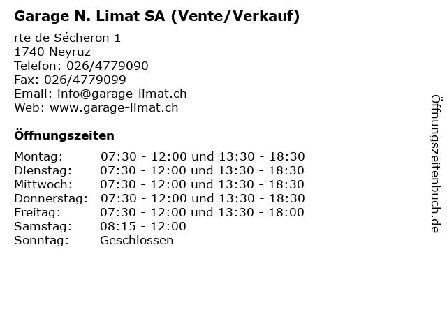 Garage N. Limat SA (Vente/Verkauf) in Neyruz: Adresse und Öffnungszeiten