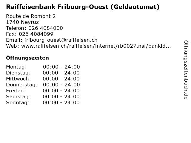 Raiffeisenbank Fribourg-Ouest (Geldautomat) in Neyruz: Adresse und Öffnungszeiten