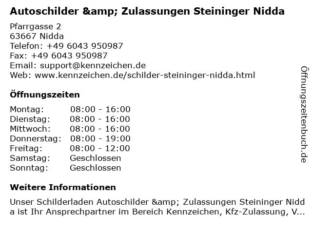 Autoschilder & Zulassungen Steininger Nidda in Nidda: Adresse und Öffnungszeiten
