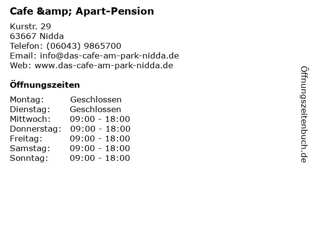 Cafe & Apart-Pension in Nidda: Adresse und Öffnungszeiten