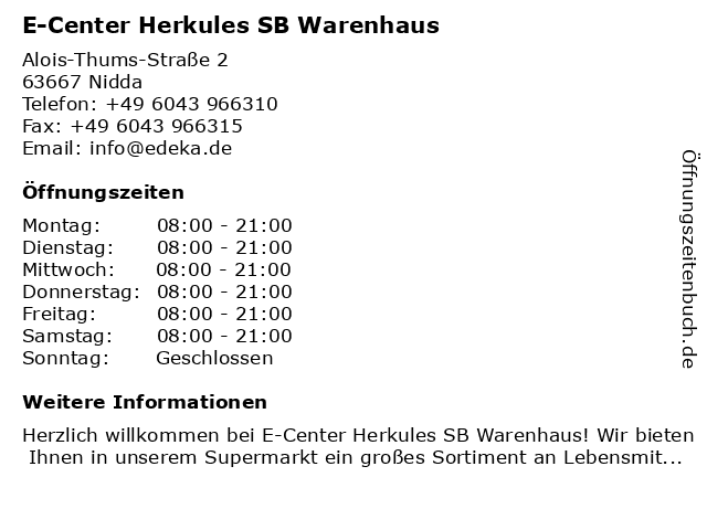 E-Center Herkules SB Warenhaus in Nidda: Adresse und Öffnungszeiten