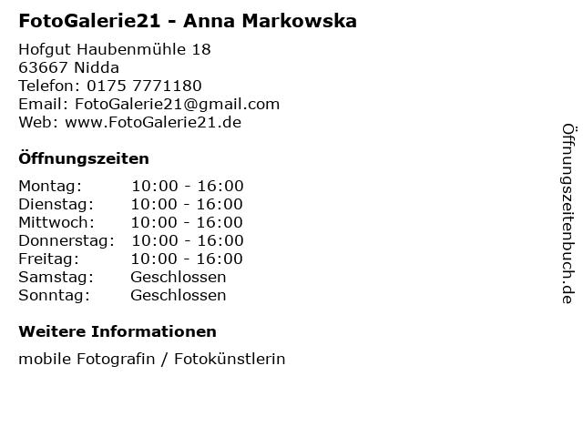 FotoGalerie21 - Anna Markowska in Nidda: Adresse und Öffnungszeiten