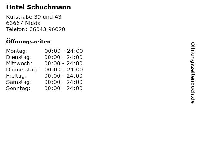 Hotel Schuchmann in Nidda: Adresse und Öffnungszeiten