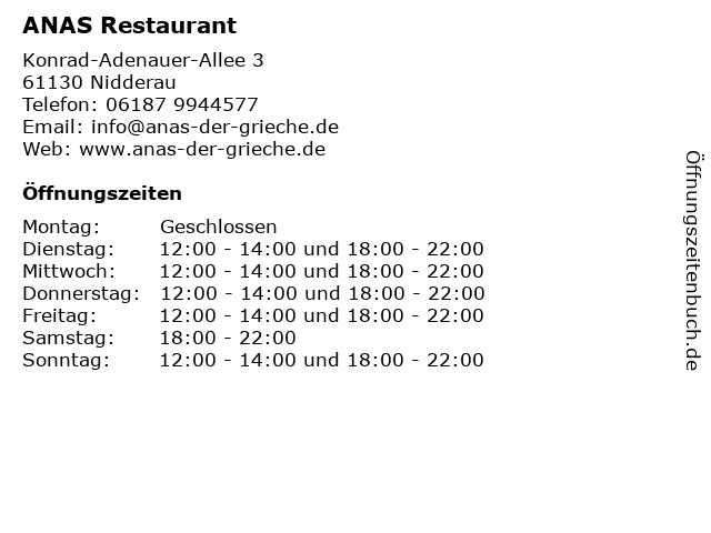 ANAS Restaurant in Nidderau: Adresse und Öffnungszeiten