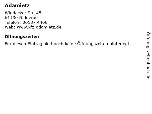 Adamietz in Nidderau: Adresse und Öffnungszeiten