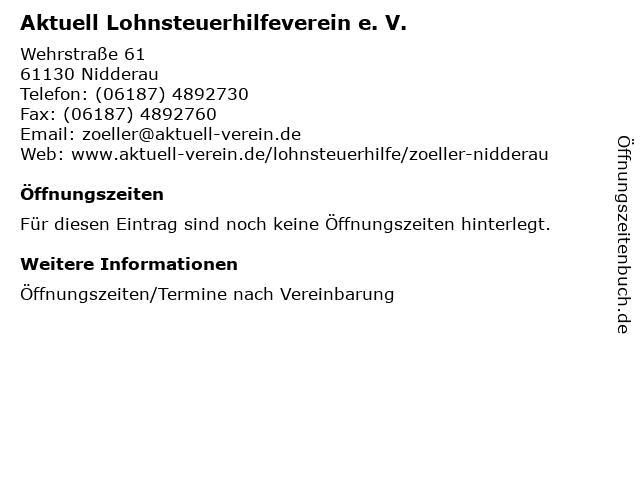 Aktuell Lohnsteuerhilfeverein e. V. in Nidderau: Adresse und Öffnungszeiten
