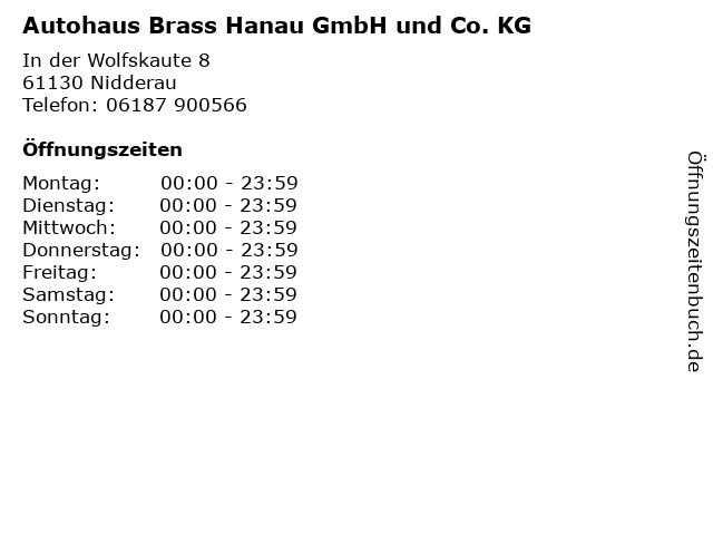 Autohaus Brass Hanau GmbH und Co. KG in Nidderau: Adresse und Öffnungszeiten