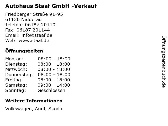 Autohaus Staaf GmbH -Verkauf in Nidderau: Adresse und Öffnungszeiten