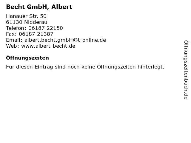 Becht GmbH, Albert in Nidderau: Adresse und Öffnungszeiten