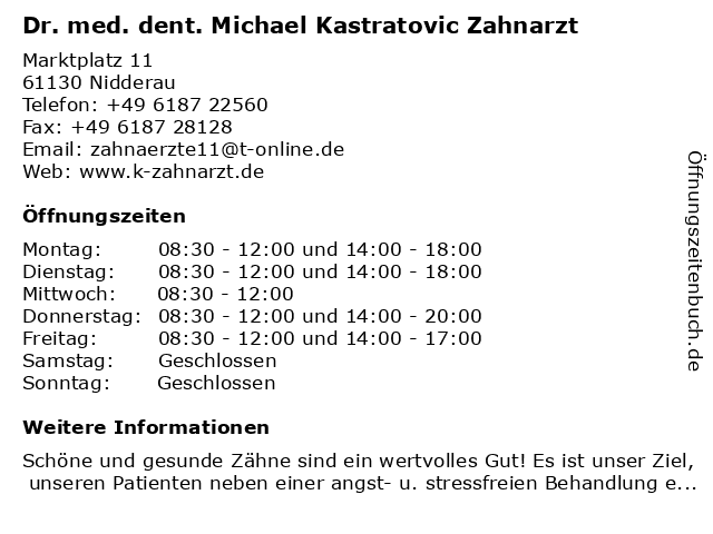 Dr. med. dent. Michael Kastratovic Zahnarzt in Nidderau: Adresse und Öffnungszeiten