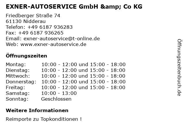 EXNER-AUTOSERVICE GmbH & Co KG in Nidderau: Adresse und Öffnungszeiten