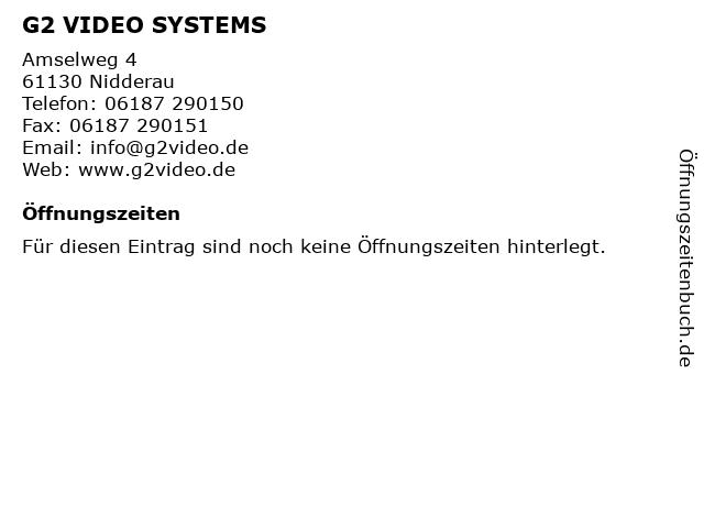 G2 VIDEO SYSTEMS in Nidderau: Adresse und Öffnungszeiten