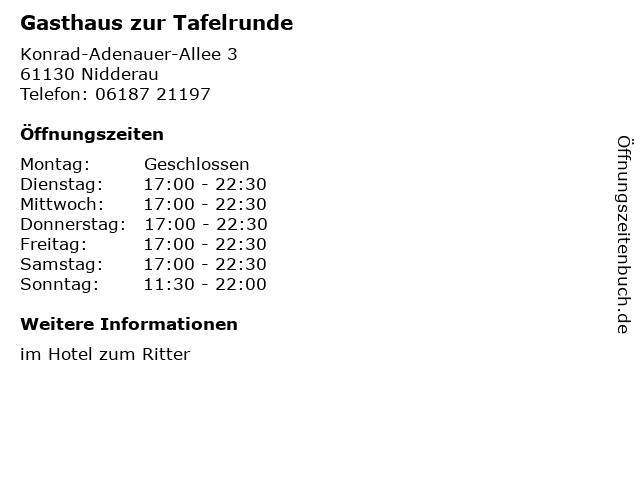 Gasthaus zur Tafelrunde in Nidderau: Adresse und Öffnungszeiten