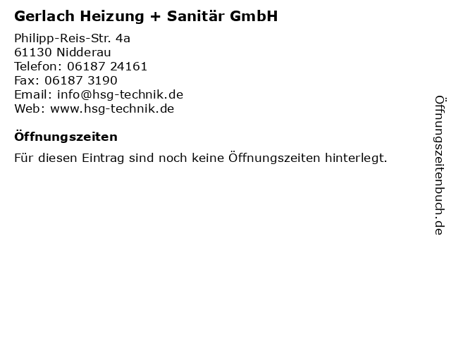 Gerlach Heizung + Sanitär GmbH in Nidderau: Adresse und Öffnungszeiten