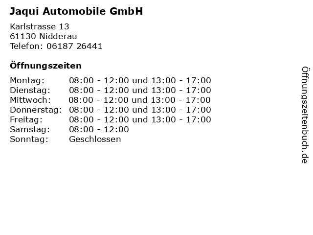 Jaqui Automobile GmbH in Nidderau: Adresse und Öffnungszeiten