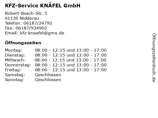 KFZ-Service KNÄFEL GmbH in Nidderau: Adresse und Öffnungszeiten