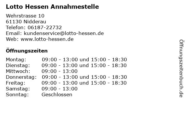 Lotto Hessen Annahmestelle in Nidderau: Adresse und Öffnungszeiten