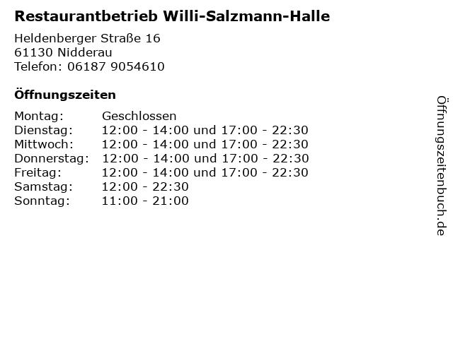 Restaurantbetrieb Willi-Salzmann-Halle in Nidderau: Adresse und Öffnungszeiten