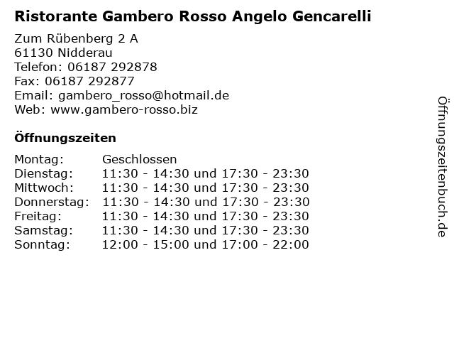 Ristorante Gambero Rosso Angelo Gencarelli in Nidderau: Adresse und Öffnungszeiten