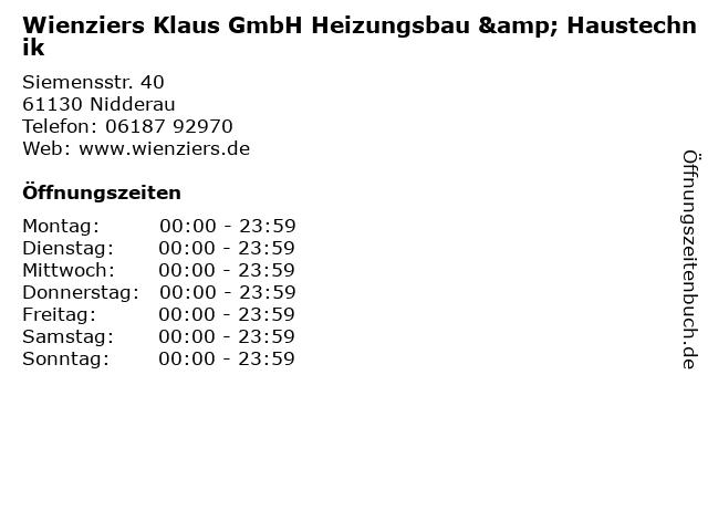 Wienziers Klaus GmbH Heizungsbau & Haustechnik in Nidderau: Adresse und Öffnungszeiten