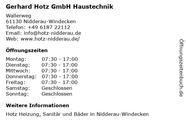 Gerhard Hotz GmbH Haustechnik in Nidderau-Windecken: Adresse und Öffnungszeiten
