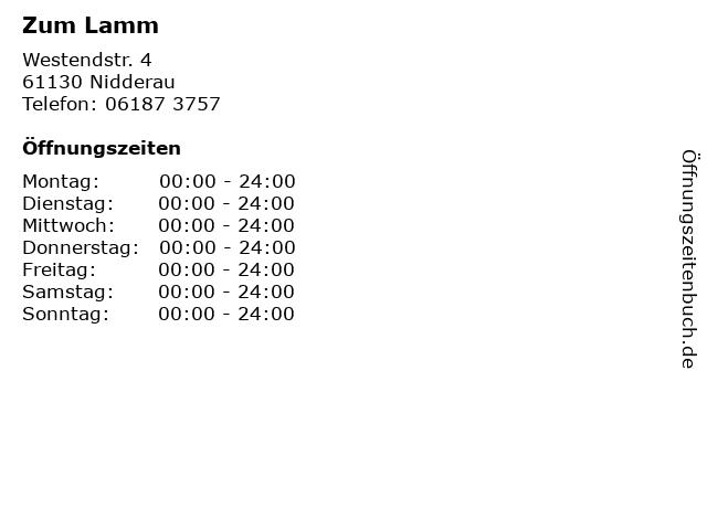 Zum Lamm in Nidderau: Adresse und Öffnungszeiten