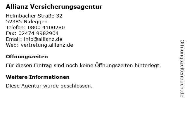 Allianz Vertretung Sommer und Schrimpf GbR in Nideggen: Adresse und Öffnungszeiten