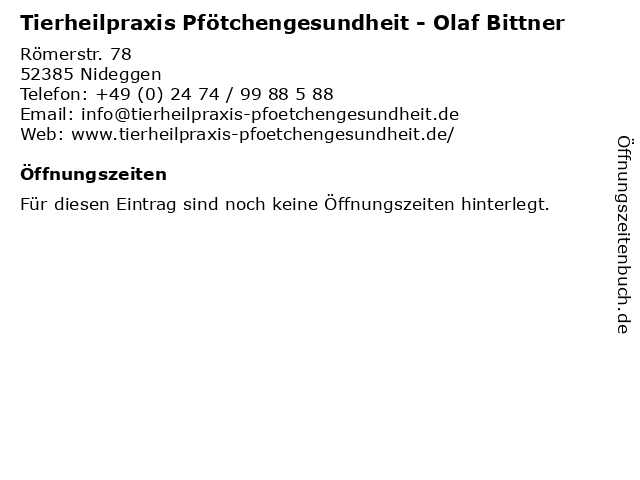 Tierheilpraxis Pfötchengesundheit - Olaf Bittner in Nideggen: Adresse und Öffnungszeiten