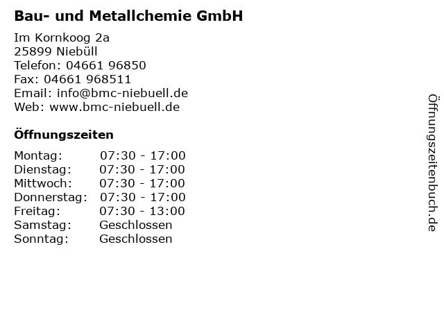 Bau- und Metallchemie GmbH in Niebüll: Adresse und Öffnungszeiten