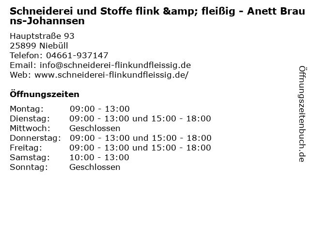 Schneiderei und Stoffe flink & fleißig - Anett Brauns-Johannsen in Niebüll: Adresse und Öffnungszeiten