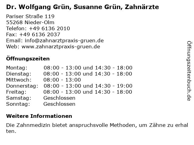 Dr. Wolfgang Grün, Susanne Grün, Zahnärzte in Nieder-Olm: Adresse und Öffnungszeiten
