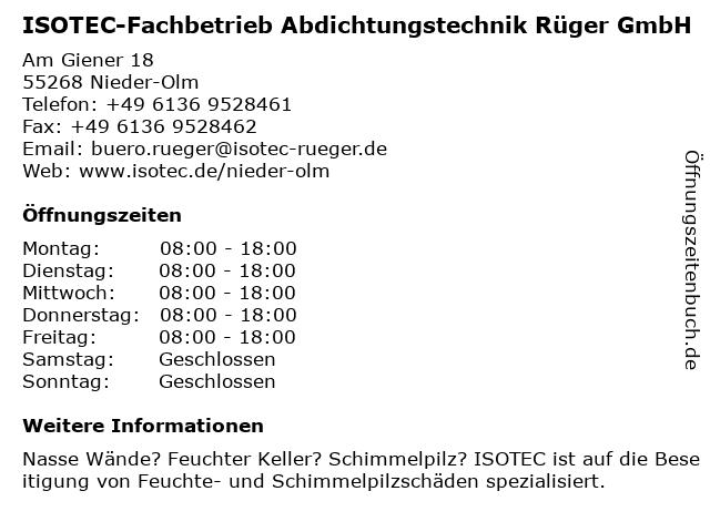 ISOTEC-Fachbetrieb Abdichtungstechnik Rüger GmbH in Nieder-Olm: Adresse und Öffnungszeiten