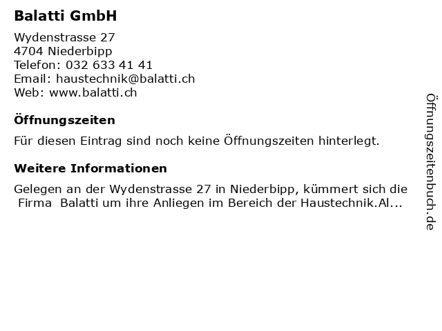 Balatti Spenglerei & Sanitäre Installationen in Niederbipp: Adresse und Öffnungszeiten