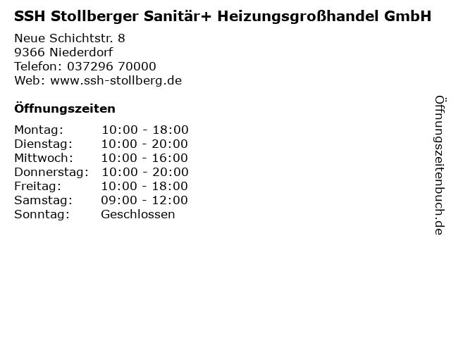 SSH Stollberger Sanitär+ Heizungsgroßhandel GmbH in Niederdorf: Adresse und Öffnungszeiten
