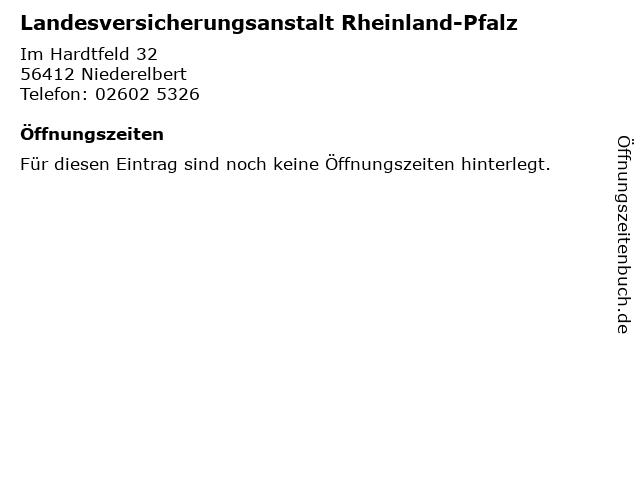 Landesversicherungsanstalt Rheinland-Pfalz in Niederelbert: Adresse und Öffnungszeiten