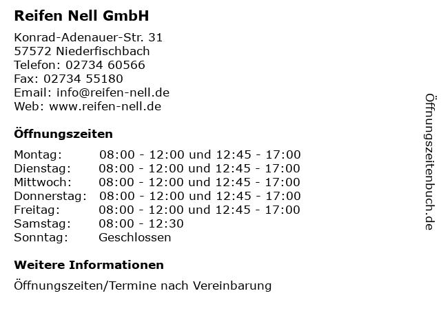 Reifen Nell GmbH in Niederfischbach: Adresse und Öffnungszeiten