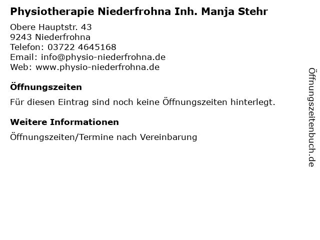 Physiotherapie Niederfrohna Inh. Manja Stehr in Niederfrohna: Adresse und Öffnungszeiten