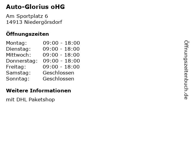Auto-Glorius oHG in Niedergörsdorf: Adresse und Öffnungszeiten