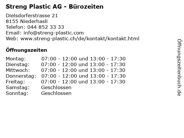 Streng Plastic AG - Bürozeiten in Niederhasli: Adresse und Öffnungszeiten