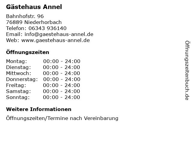 Gästehaus Annel in Niederhorbach: Adresse und Öffnungszeiten
