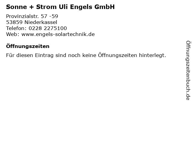Sonne + Strom Uli Engels GmbH in Niederkassel: Adresse und Öffnungszeiten