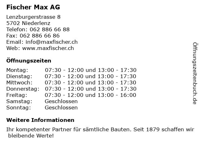 Fischer Max AG in Niederlenz: Adresse und Öffnungszeiten