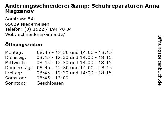 Änderungsschneiderei & Schuhreparaturen Anna Magzanov in Niederneisen: Adresse und Öffnungszeiten