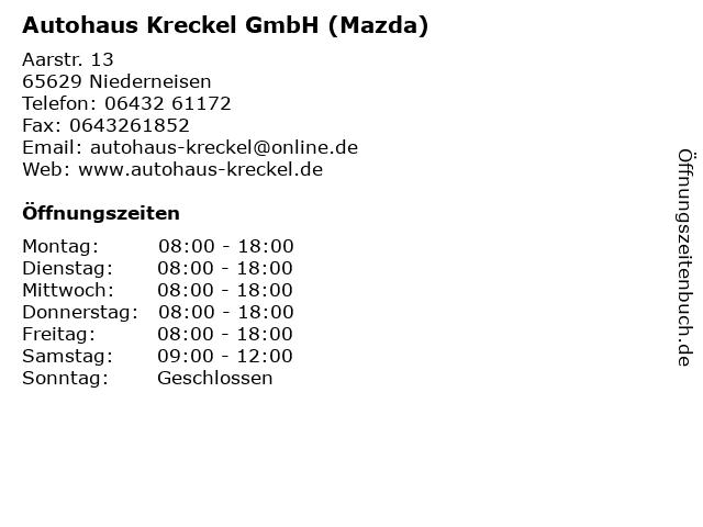 Autohaus Kreckel GmbH (Mazda) in Niederneisen: Adresse und Öffnungszeiten