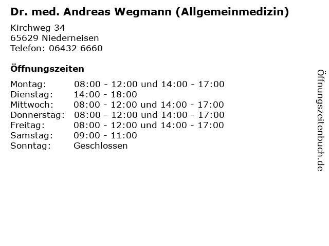 Dr. med. Andreas Wegmann (Allgemeinmedizin) in Niederneisen: Adresse und Öffnungszeiten