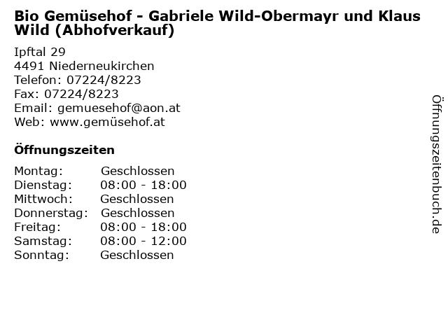 Bio Gemüsehof - Gabriele Wild-Obermayr und Klaus Wild (Abhofverkauf) in Niederneukirchen: Adresse und Öffnungszeiten