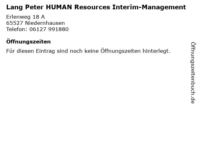Lang Peter HUMAN Resources Interim-Management in Niedernhausen: Adresse und Öffnungszeiten
