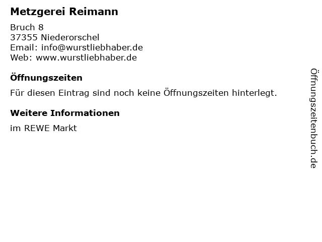 Metzgerei Reimann in Niederorschel: Adresse und Öffnungszeiten