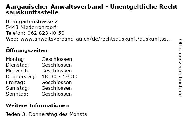 Aargauischer Anwaltsverband - Unentgeltliche Rechtsauskunftsstelle in Niederrohrdorf: Adresse und Öffnungszeiten