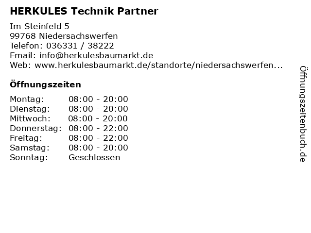 HERKULES Technik Partner in Niedersachswerfen: Adresse und Öffnungszeiten